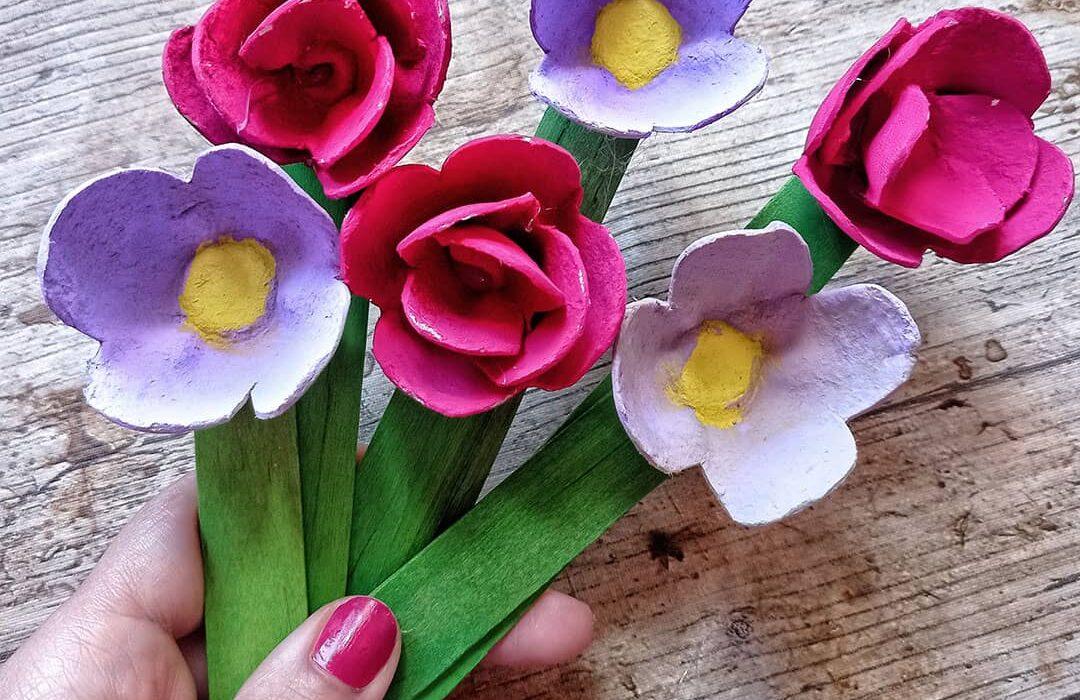 ramo de flores como manualidad para el dia de la madre